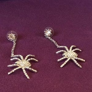 Jewelry - Rhinestone Spider Earrings
